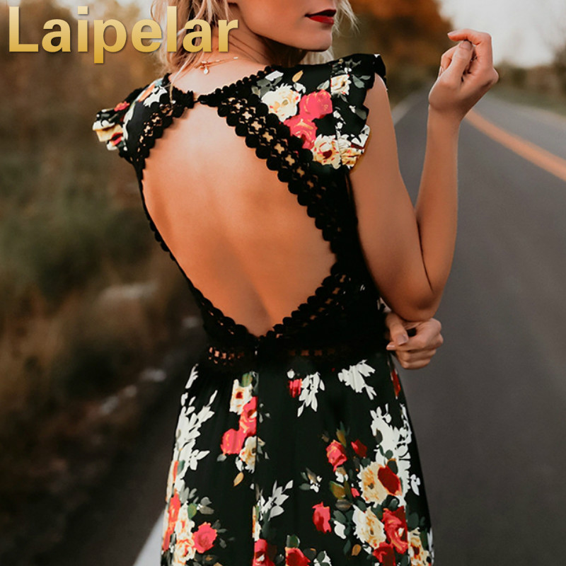 Laipelar Elegant flower print lace maxi dress vestidos Sexy deep V neck backless summer dress Women boho asymmetrical long dress