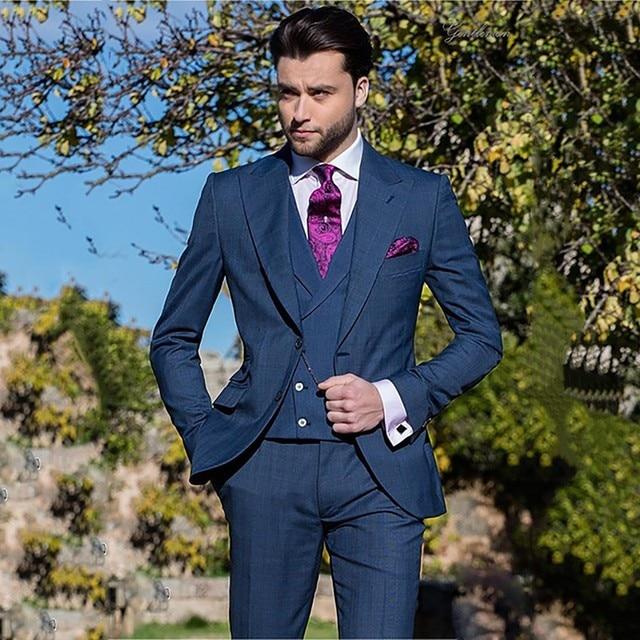 6a81d124ada4 Navy Blue Suits Men 2019 Latest Coat Pant Design Slim Fit Formal Wedding  Suits For Men 3 Piece Costume Homme Mariage Prom Blazer
