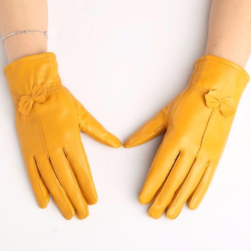 มาใหม่ 2018 100% ที่มีคุณภาพสูงถุงมือหนังบริสุทธิ์ของผู้หญิงสไตล์คลาสสิกถุงมือหนังแกะฤดูหนาวถุงมือจัดส่งฟรี