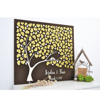 Custom 3D Wedding Guest Book Tree, Rustic Guest Book Alternative Wood ,Heart Guest Book Ideas,Personalized Couple Names and Date