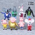 8pcs/1lot Sing Caroon Figures  Pig 7-10cm Toys Action Figures Juguetes Toy #1911 Kids New Year Birthday Gift