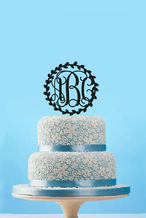 Circle Vine Monogram Wedding Cake TopperCustom Initials TopperMonogram Olive Branch Topperrustic Birthday In Decorating Supplies