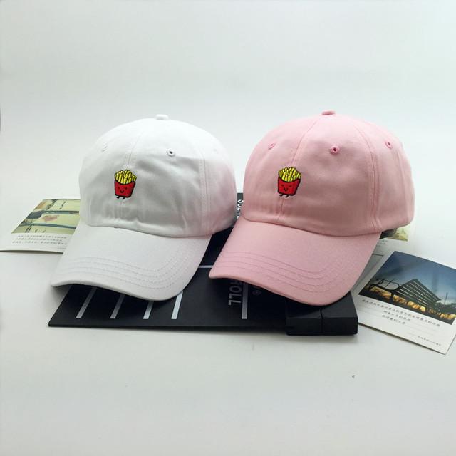 Venta nuevo 2016 corea ulzzang harajuku gorras lindo bordado francés fritas snapback cap y sombreros gorras de béisbol ocasional del verano
