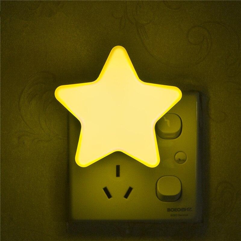 Портативный мини ночник звезда плагин Новинка свет лампы датчик аварийного лампа для детей фойе, спальня, санузел ЕС/США Plug