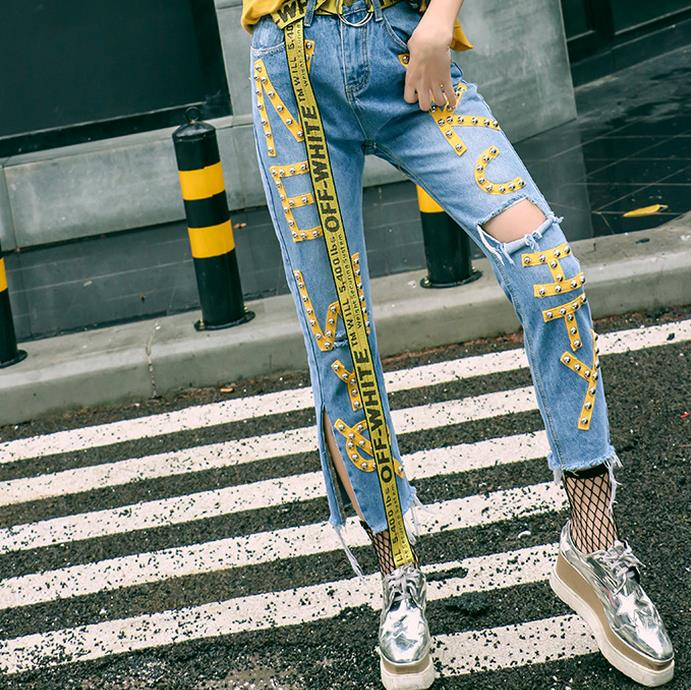 Spring Women Bleached Straight Jeans Zipper Fly Side Patchwork Letter Ribbons Ripped Calf Length Denim Pants