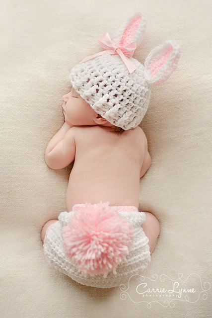 f1a2af7e3 US $8.2 |Baby Photography Prop Handmade Crochet Knitted Costume Bunny Hat  Diaper Cover Set, Newborn Easter Prop, Infant Rabbit Hat ,Bunny-in Hats &  ...