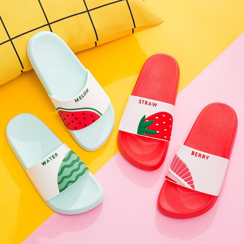 Women Summer Slippers Cute Fruits Watermelon Strawberry Soft Sole Beach Slides Indoor & Outdoor Slippers Sandals Women Shoes
