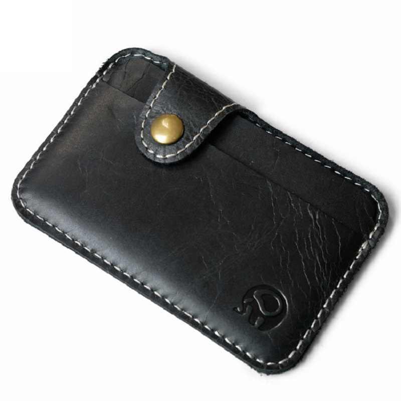 Atacado Retro Homens Carteira de Negócios de Cartão de Couro Titular Do Cartão de Banco Caso do Cartão de Crédito Fina Conveniente Pequeno Pacote de Cartões de Bolso Dinheiro