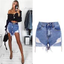 SupSindy נשים קצר ג ינס 2020 אירופה סגנון בציר גבוה מותניים קצרים ציצית יוקרה מותג Slim מקרית ripped קצר ג ינס