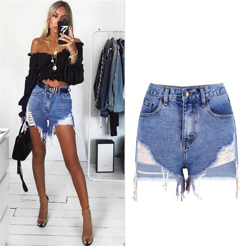 SupSindy Women Short Jeans 2019 Europe Style Vintage High Waist Tassel Denim Shorts Luxury Brand Slim Casual Ripped Short Jeans