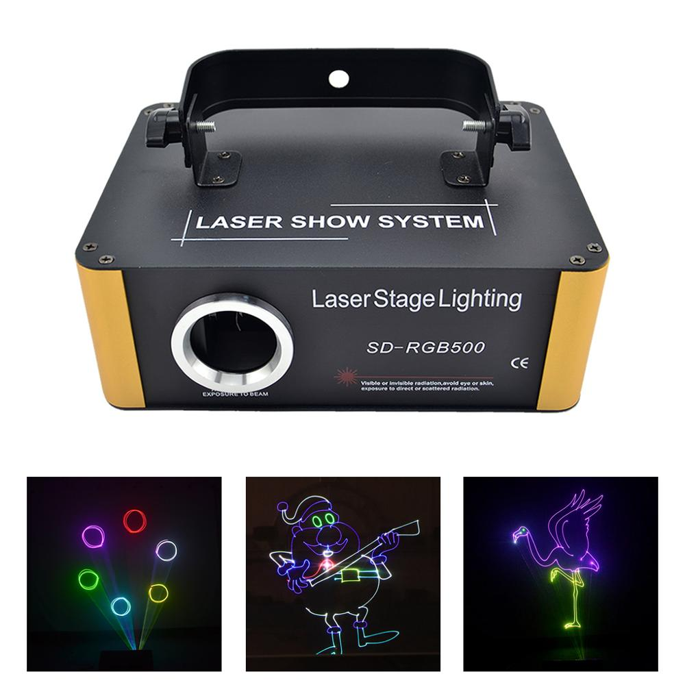 AUCD 500mW RGB Laser SD Card Program DMX Animation Scan Projector Lights Disco Party DJ Show