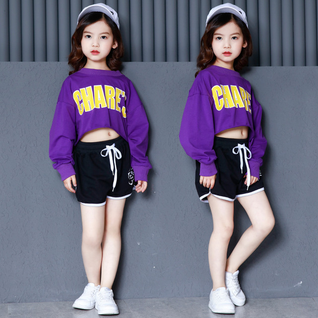 Autumn Kids Girls Hip Hop Jazz Navel-less Suits Long Sleeves Shirts Teens Children Short Pants Dancers Wear Clothes Sets CLS239