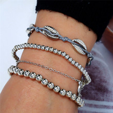 4pcs/Set Retro Hipster Bead Round Shell Chain Multilayer Silver Bracelet Set For Women Bangle Delicate Party Clothing Jewelry