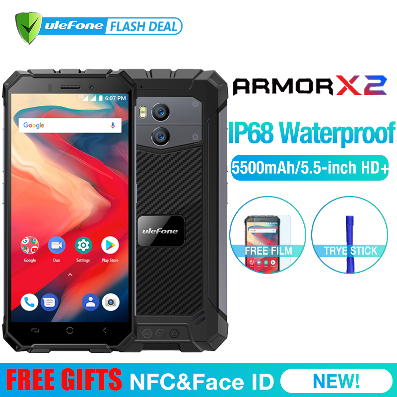 """Ulefone Armor X2 Waterproof IP68 3G Smartphone 5.5"""" HD Quad Core Android 8.1 2GB+16GB NFC Face ID 5500mAh Dual Cam Mobile Phone"""