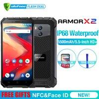 Ulefone Броня X2 Водонепроницаемый IP68 3g смартфон 5,5 HD 4 ядра Android 8,1 2 GB + 16 GB NFC Face ID 5500 mAh Dual Cam мобильного телефона