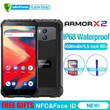Ulefone Броня X2 Водонепроницаемый IP68 3g смартфон 5,5 «HD 4 ядра Android 8,1 2 GB + 16 GB NFC Face ID 5500 mAh Dual Cam мобильного телефона