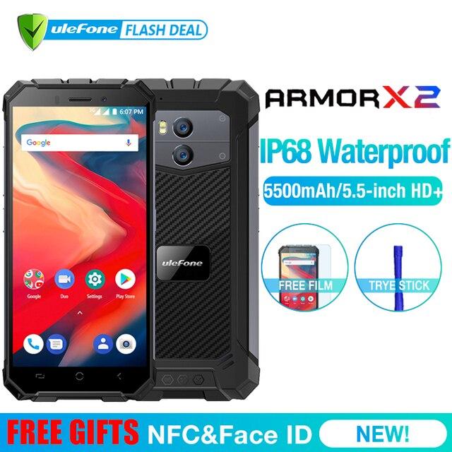 "Ulefone Power X2 водонепроницаемый IP68 3G смартфон 5,5 ""HD Quad Core Android 8,1 2 ГБ + 16 Гб NFC Face ID 5500 мАч двойной камерой мобильного телефона"