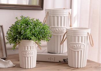 7373171ffc75 Adornos florero de cerámica blanco al por mayor simple jarrones modernos  artesanías de decoración del hogar dormitorio salón florero