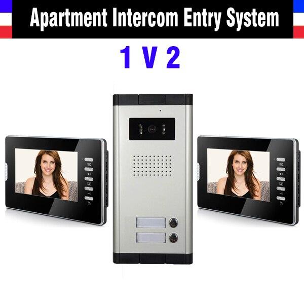 Apartment Intercom System for 2 Units 7 Inch Monitor Video Intercom Doorbell Door Phone IR Camera Speakerphone intercom Kit