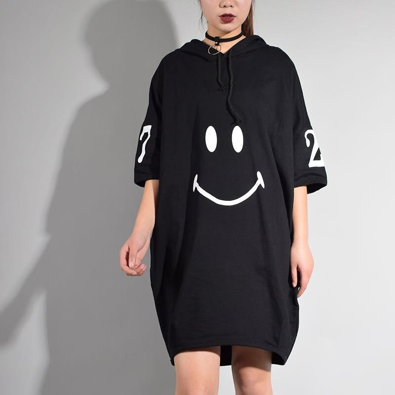 Image 5 - Женское платье с коротким рукавом XITAO, длинное платье до колена с капюшоном и принтом персонажей из Кореи, лето 2017loose dressknee dressdress fashion women -