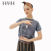 HYH Haoyihui Women Summer T-Shirt Sweet Preppy Style Individual Short Sleeve Loose  Embroidery Knitting Printing Top for Female