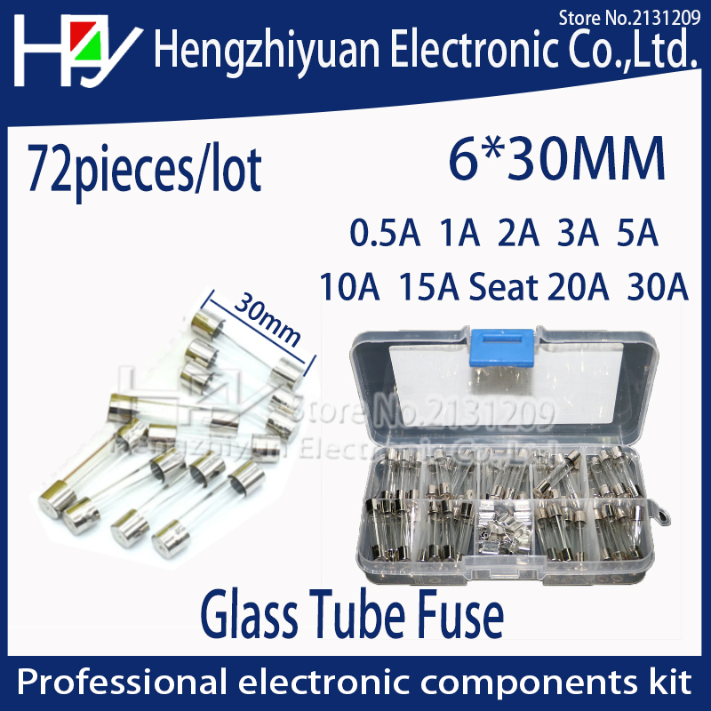 Hzy 72pcs/lot 6x30mm Fast-blow Glass Fuses Quick Blow Car Glass Tube Fuses Assorted Kit Amp seat home fuse with box thermo fuse