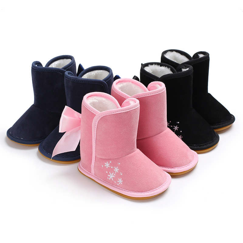 New style baby boot solid flock with fur inside winter first walker keep warm moccasins Newborn baby girl shoes Non-slip