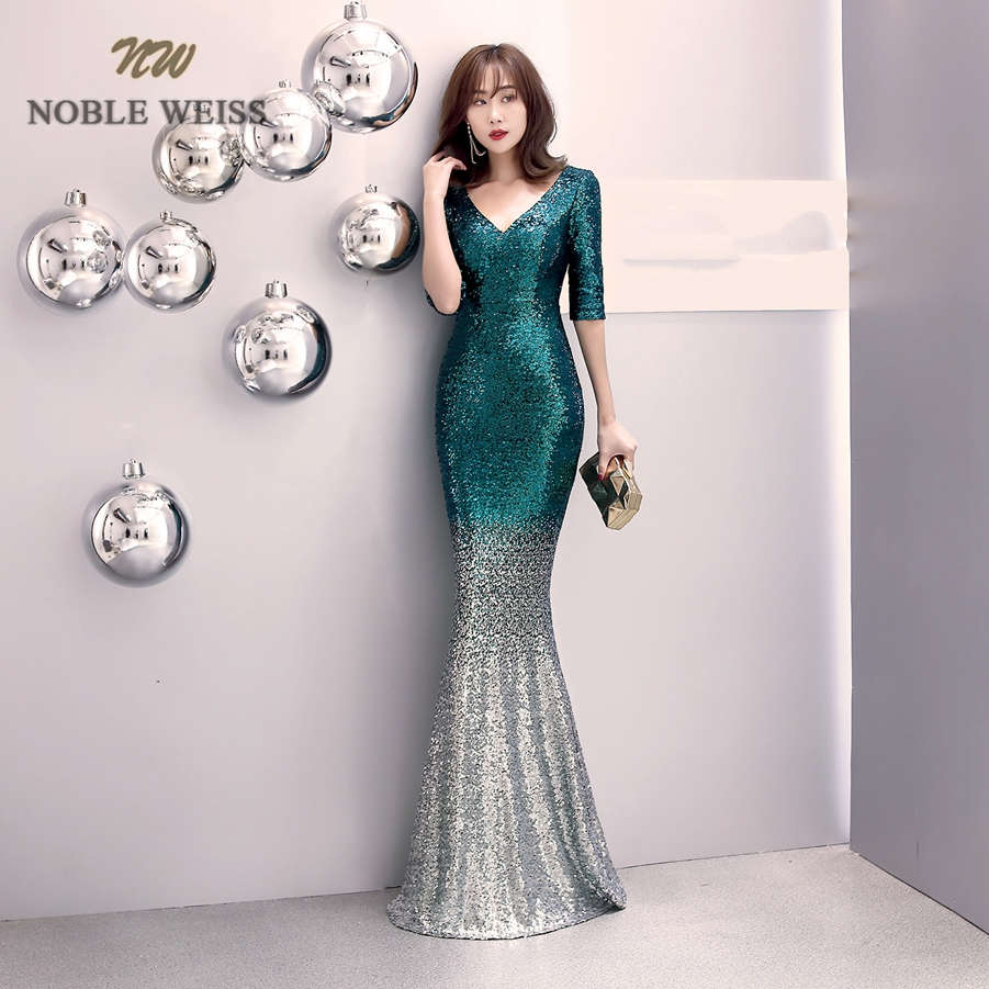 Image 3 - prom dresses 2019 v neck mermaid prom dress sexy vestidos de gala  zipper back floor length prom gown with short sleevesProm Dresses   -