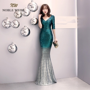 Image 3 - prom dresses 2019 v neck mermaid prom dress sexy vestidos de gala zipper back floor length prom gown with short sleeves