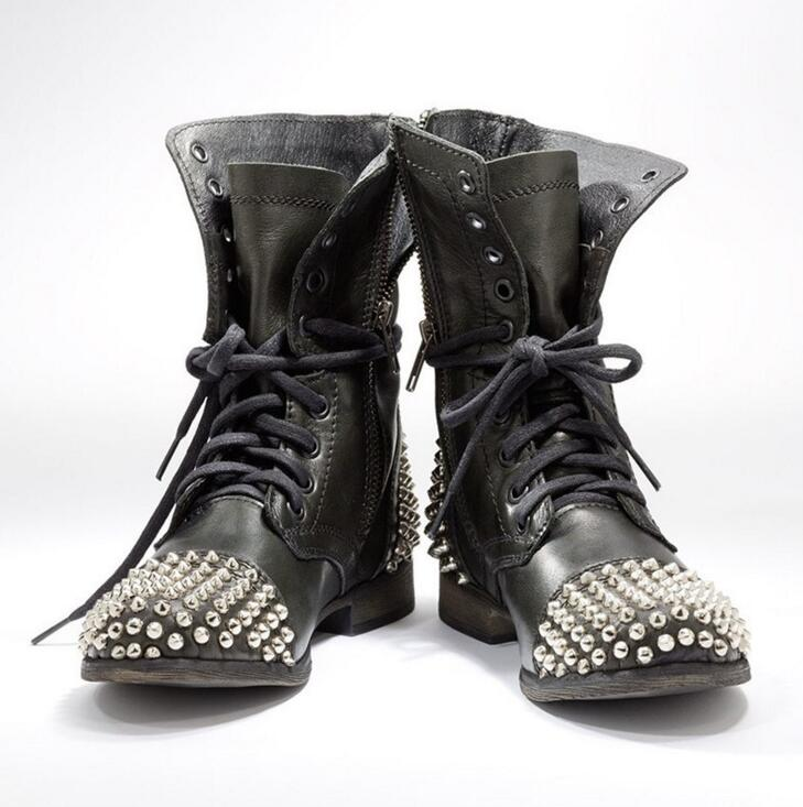 Plus Size Hot Sale Super High Boots For Women Punk Style Spikes Shoe Ankle Boots Studded Bota Women Booties Lace Up Motorcycle hot sale womens pu leather shoes lace up rivet metal decoration punk style prom ankle boots for women casual footwear plus size