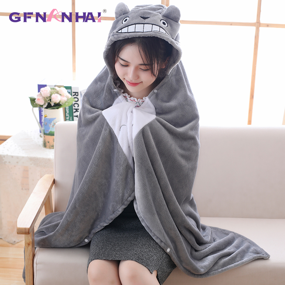 1pc 145/165cm Totoro Cape Cloak Plush Toy Hung out Blanket Air Conditioning Stuffed Mlanket Mantys Cape Coral Double Pola Gift