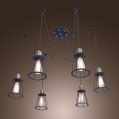 60 w e26e27 retro lampadari luce con 6 luci e struttura in metallo 6