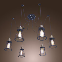 60W E26/E27 Retro Chandeliers Light with 6 Lights and Metal Frame 6 Lights, For Kids Room, Bathroom, Living Room,Bulb Included