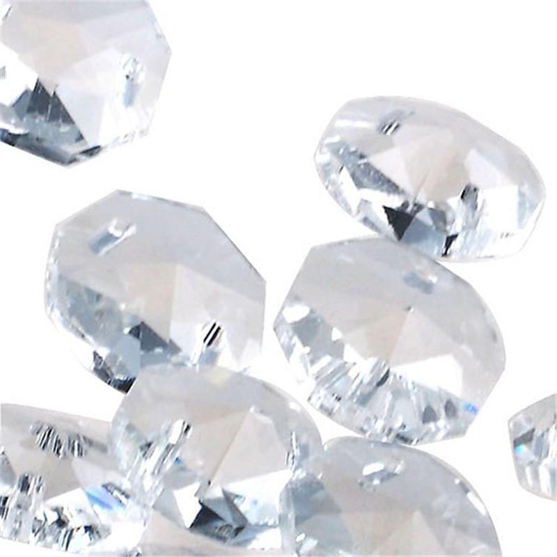 50pcs Sky Blue 14mm Glass Crystal Octagon Beads Chandelier Parts Decoration DIY