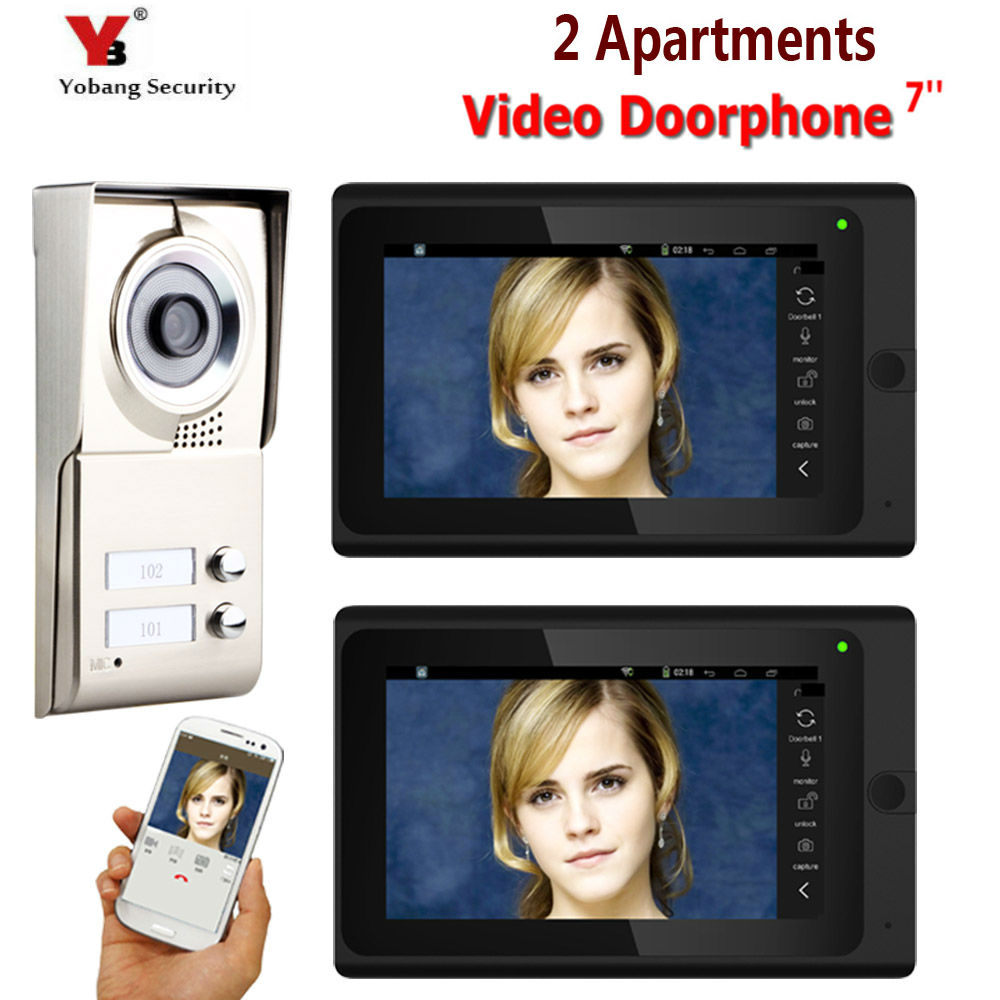 7inch Record Wired Wifi 2 Apartments Video Door Phone Intercom System IR-CUT HD 1000TVL Camera Doorbell Camera With 2 Button
