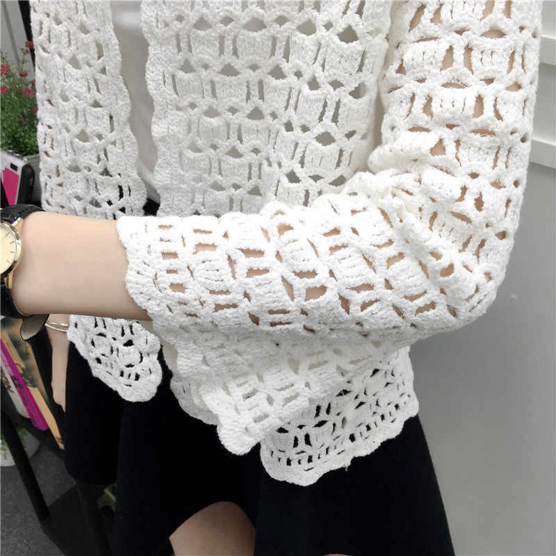 eb6ee5a102c2 ... 2019 Spring Summer Crochet White Lace Blouse Women Fashion Tops Sexy  Hollow Out Knitted Cardigan Chemise