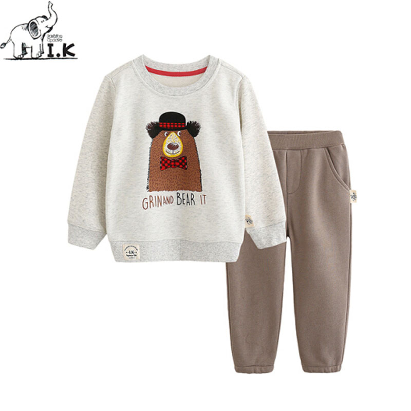 Baby Boys Sports Sets For Spring Autumn Shirts+Pants Two Piece Sets With Cartoon Bear Printing Cotton Children Kid Suits TZ26008
