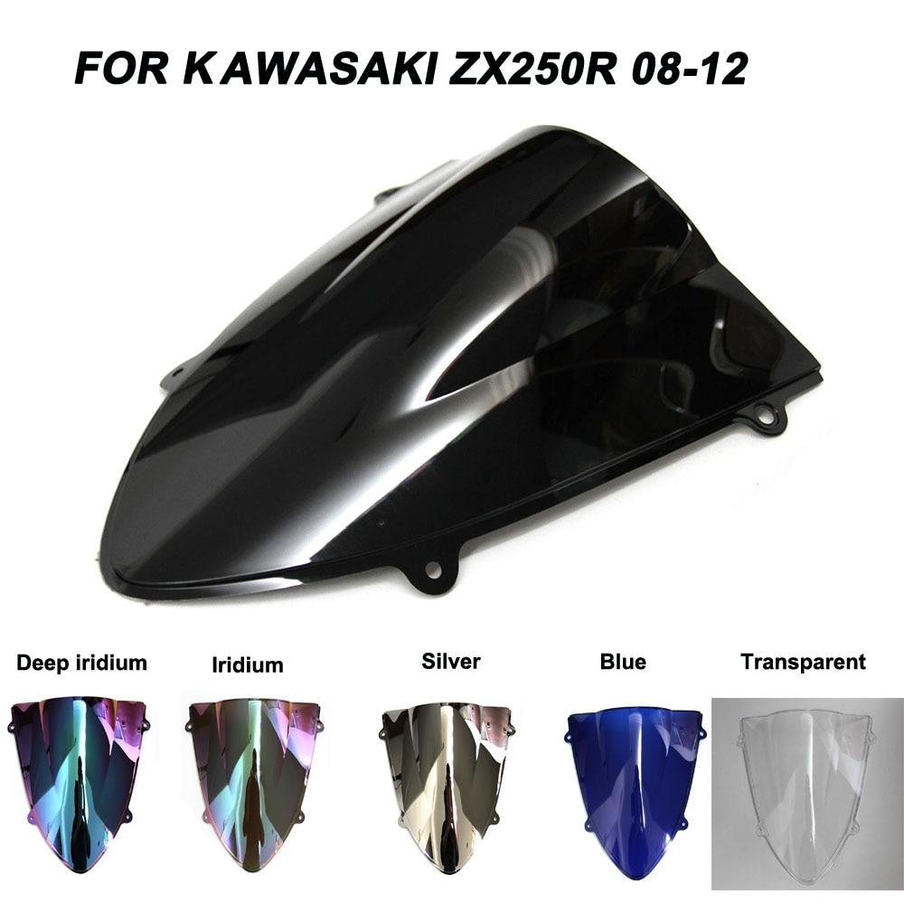 Double Bubble Windscreen Wind Deflectors Windshields For Kawasaki NINJA ZX250R ZX 250 R 250R 2008-2012 Chrome