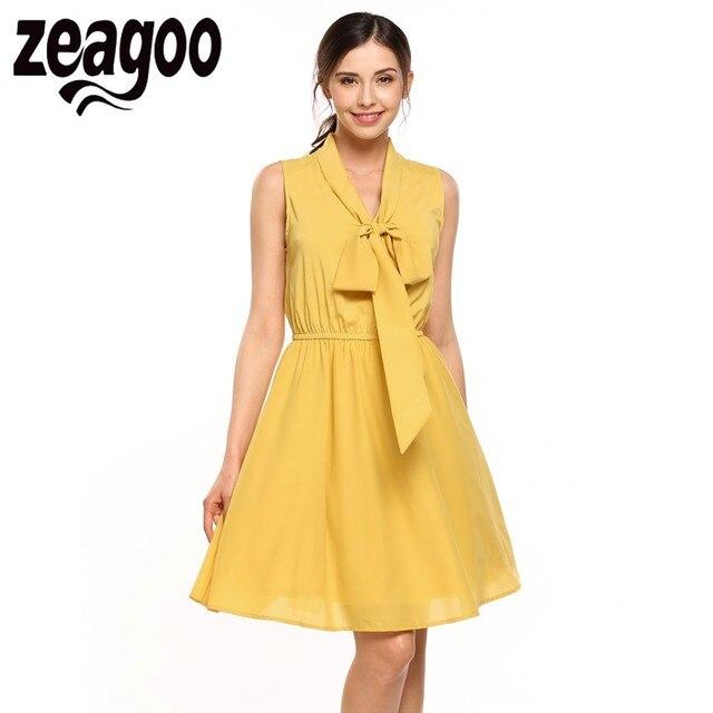cefa691096 Zeagoo Women V-neck Sleeveless Lace-up Bow Knee Pleated Dress Party  Sundress Elastic Waist Party Dresses robe femme ete 2018
