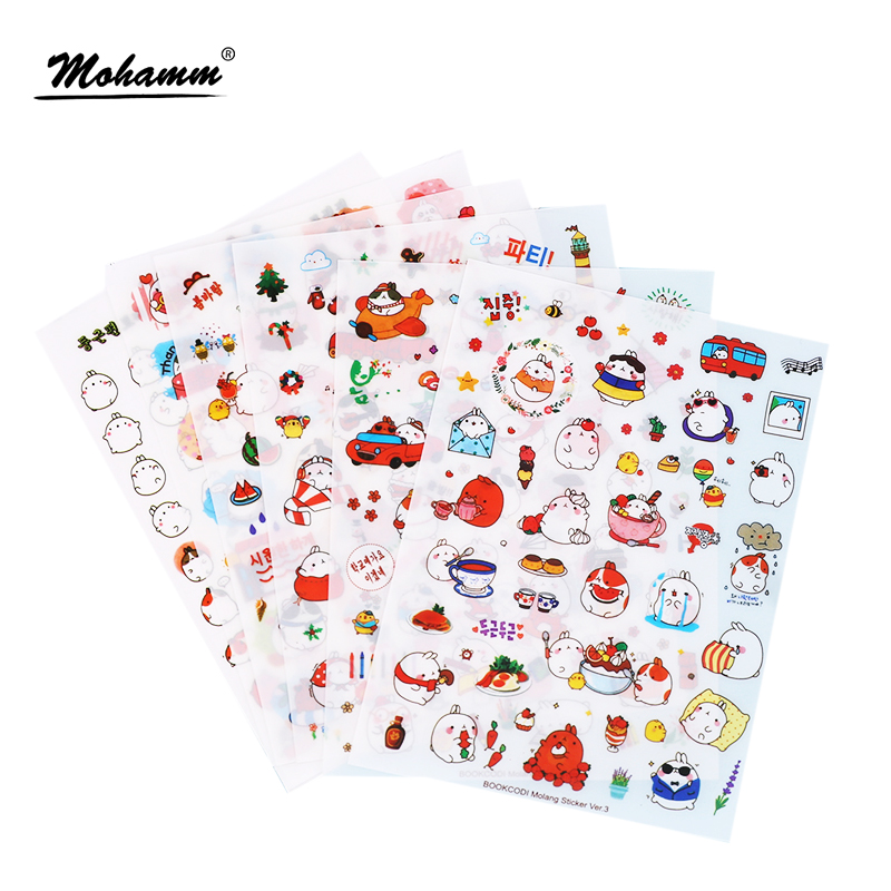 6 Pcs/Set Cute Molang Rabbit Cartoon Animals Sticker Pvc Cartoon Stickers Diary Sticker Scrapbook Decoration Stationery Stickers