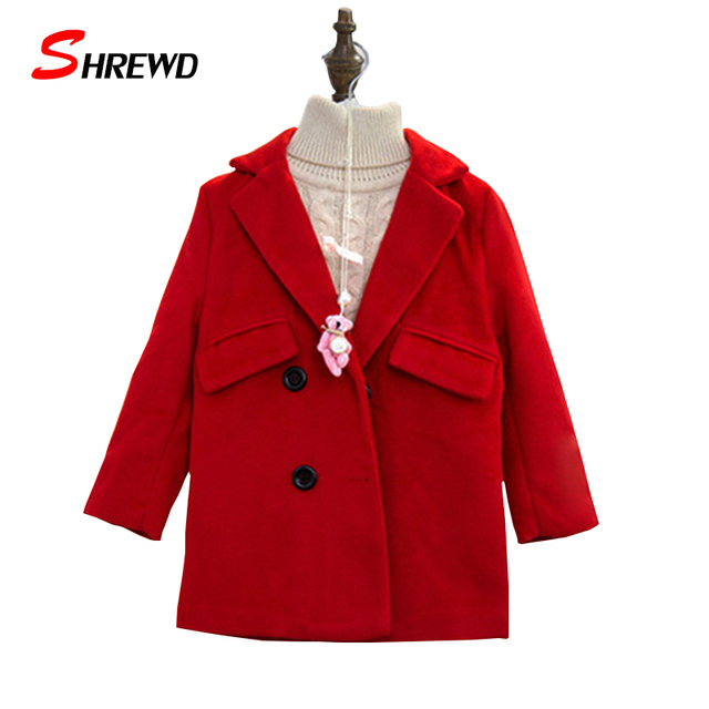 Childrens Winter Coats 2016 New Fashion Double-breasted Baby Girl Jacket Pure Color Long Sleeve Kids Clothes Girls 6376W