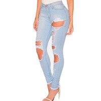 Moda Casual de Mujer de Marca Vintage de Cintura Alta Vaqueros Ajustados Denim Slim Jeans Rotos Lápiz Agujero Pantalones Mujer Sexy Girls Pantalones