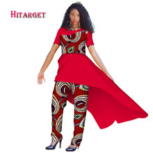 2018 African Women 2 Piece Summer Set Dashiki Cotton Print Wax T-shirt and Pant  Suits Clothes WY2915