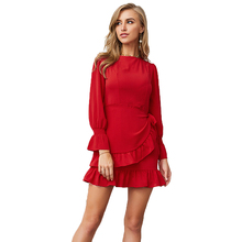 Women dress Chiffon Ruffle summer 2019 robe femme Solid color Oneck Long sleeve Show thin vogue New arrive fashion