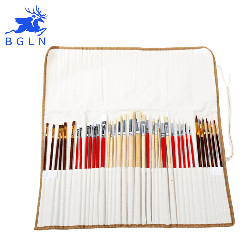 38Pcs Paint Brushes Set With Canvas Bag For Oil Acrylic Watercolor Painting Long Wooden Handle Multifunction Brush Art Supplies 1pc 96grid bag pen holder paint brush holder watercolor oil acrylic painting tool pencil case stationary art easel container