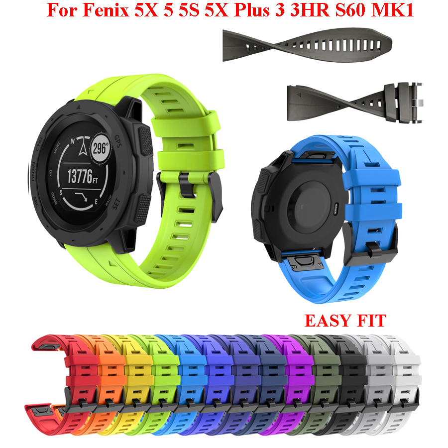 26 22MM Watchband Strap For Garmin Fenix 5 5X 3 3 HR Fenix 6X 6 6S S60 MK1 Watch Quick Release Silicone Easyfit Wrist Band Strap