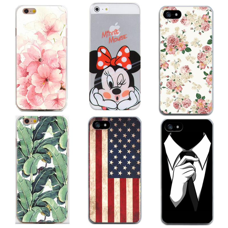 New Pattern Phone Iphone 7 6 6S 5 5S SE 5C Cartoon Flower Printed Soft TPU Back Cover For Apple Iphone 8 Case Capa