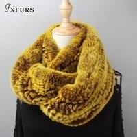 FXFURS 2019 new Women Infinity fur scarf Circle long rabbit fur scarf winter warm street fashion rex rabbit fur scarf