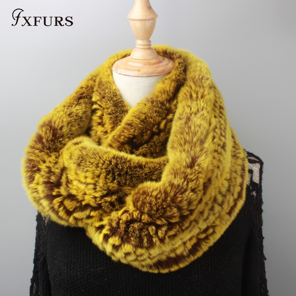FXFURS 2019 New Women Infinity Fur Scarf Circle Long Rabbit Fur Scarf Winter Warm Street Fashion Rex Rabbit Fur Scarf