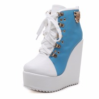 Boots Warm Fashion Fabric Ankle Round Toe Women Wedges Heel Booties High Heels Women Spring Black